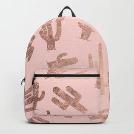 Modern rose gold cactus pattern on blush pink Backpack