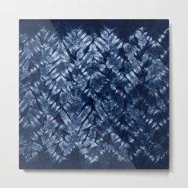 Indigo Blue Shibori Tie Dye, Boho Art Metal Print