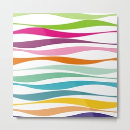 rainbow colorful waves no.1 Metal Print