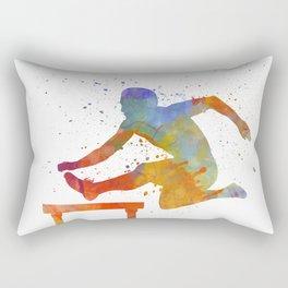 Man Athlete Jumping Over A Hurdles 01 Rectangular Pillow