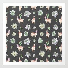 Cute Llamas & Amaryllis Floral Pattern Art Print