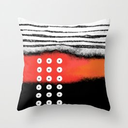 Great design with a combination of three colors, black, white and reddish orange. painted with sprit Throw Pillow