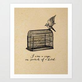 Franz Kafka - Cage in Search of a Bird Art Print