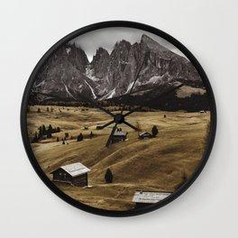 seiser alm landscape Wall Clock