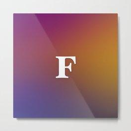 Monogram Letter F Initial Orange & Yellow Vaporwave Metal Print