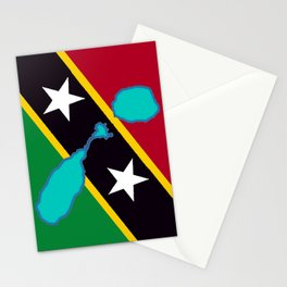 St. Kitts and Nevis Flag with Island Maps Stationery Cards