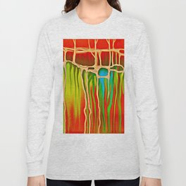 Distant Trees in Orange and Lime Long Sleeve T-shirt