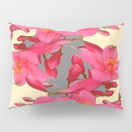 BLACK-PINK FLOWER BLOSSOMS YELLOW SPRING ART Pillow Sham