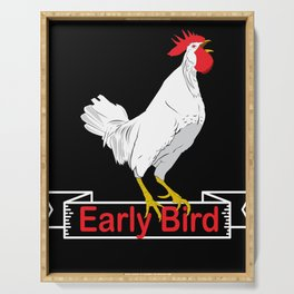 Cock Early Bird Chicken Farm Farmer Gift Serving Tray
