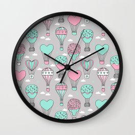 hot air balloon love valentines day gifts heart shape girls nursery grey Wall Clock