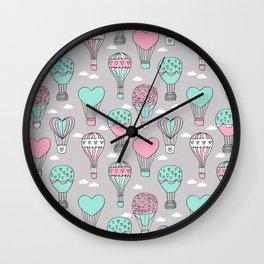 hot air balloon love valentines day gifts heart shape girls nursery grey Wall Clock