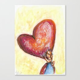 Mother love watercolor illustration Canvas Print