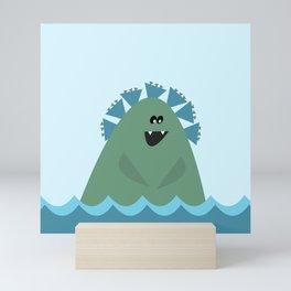 Cute Sea Monster in Blue and Green Mini Art Print