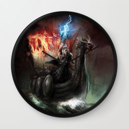 Dragon Viking Ship Wall Clock