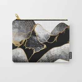 Minimal Black and Gold Mountains Carry-All Pouch