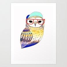 Hipster Owl, hipster, owl, owl art, illustration, print, children's, digital, Art Print