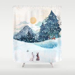 Happy Litlle Wildlife Shower Curtain