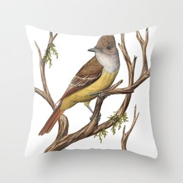 Great Crested Flycatcher (Myiarchus crinitus) Throw Pillow