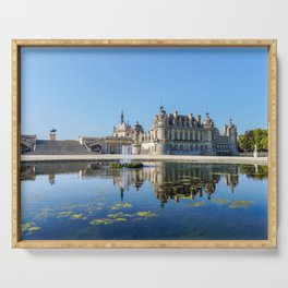Chateau de Chantilly with reflection in a pond - France Serving Tray