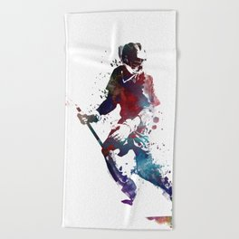 Lacrosse player art 3 Beach Towel