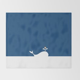 Whale in Blue Ocean with a Love Heart Throw Blanket