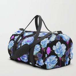 Blue pink purple watercolor roses pattern Duffle Bag
