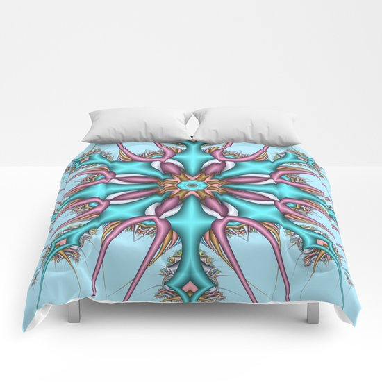 Pastel Pattern Kaleidoscope with optical effects Comforters