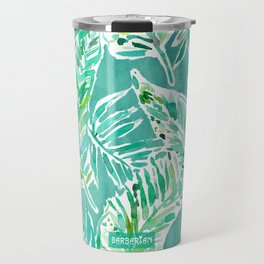 LEAFY ABUNDANCE Green Banana Leaf Print Travel Mug