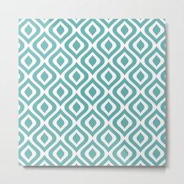 Mid Century Modern Diamond Ogee Pattern 133 Turquoise Metal Print