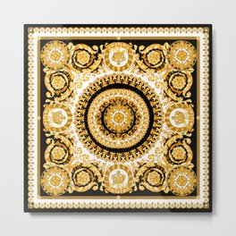 Vintage baroque illustration pattern, antique elements with golden frame on black background. Luxury victorian floral golden elements in a circle and greek lines. Metal Print