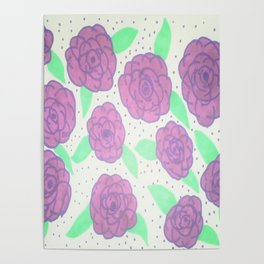 Purple Rose Pattern Poster
