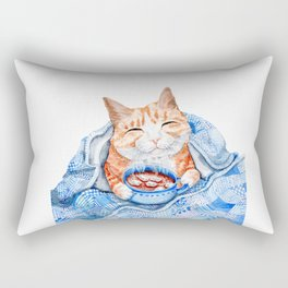 Happy Cat Drinking Hot Chocolate Rectangular Pillow