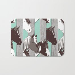 Waiting for the horse race // mint background Bath Mat