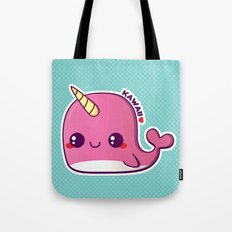 Kawaii Pink Narwhal Tote Bag