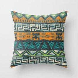 Grunge african pattern Throw Pillow
