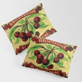 Vintage 1965 French Cherry Wine Bottle Label Kirchenwasser De La Foret-Noire Pillow Sham