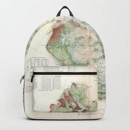 Vintage Map of Boston Bay (1866) Backpack