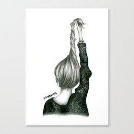 Black & White Pencil Sketch - Twisted Hairstyle/Updo Canvas Print
