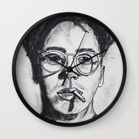 robert downey jr Wall Clocks featuring Robert Downey Jr. by Haley Erin
