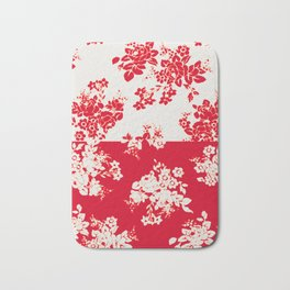 small bouquets in bright red with border Bath Mat