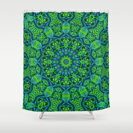 Green-black-blue kaleidoscope Shower Curtain