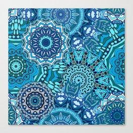 Blue Boho Mandela Pattern 5 Canvas Print