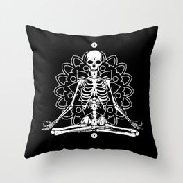 Skeleton Chakra Mandala Design Throw Pillow
