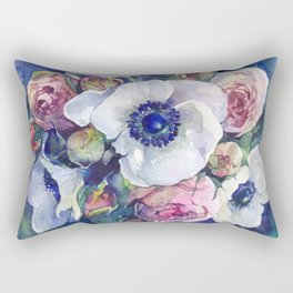 Watercolor anemone roses flowers Rectangular Pillow