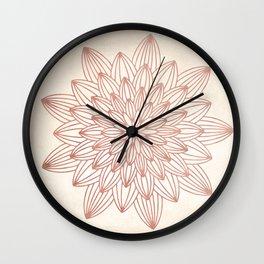 Mandala Blossom Rose Gold on Cream Wall Clock