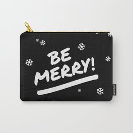 Black and White Be Merry Christmas Snowflakes Carry-All Pouch