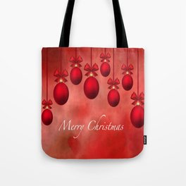 Merry Christmas Ornaments Bows and Ribbons - Red Tote Bag