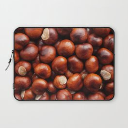 Shiny red-brown conkers in fall Laptop Sleeve