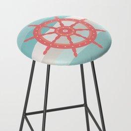 AFE Coral Helm Wheel, Nautical Art Bar Stool
