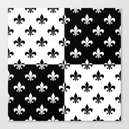 Black & white royal lilies (chessboard) Canvas Print